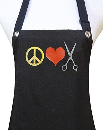 Trendy Salon Aprons Waterproof Hairdresser Hair Stylist Apron Peace Heart Scissors Yellow
