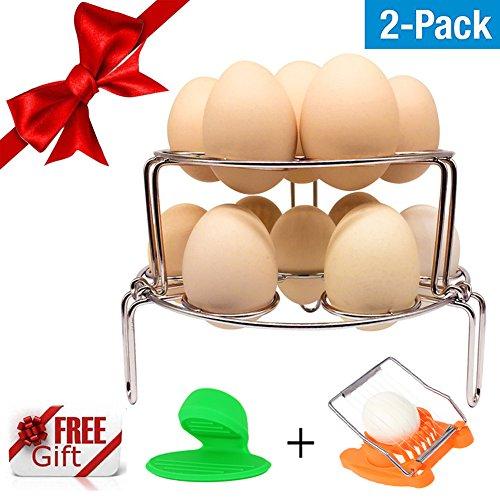 Stackable Egg Steamer Rack for Instant Pot RUST-PROOF DURABLE Best Steamer Rack Accessories for Pressure Cooker Accessories - 2 Packs - BONUS Egg Slicer  Pot Holder