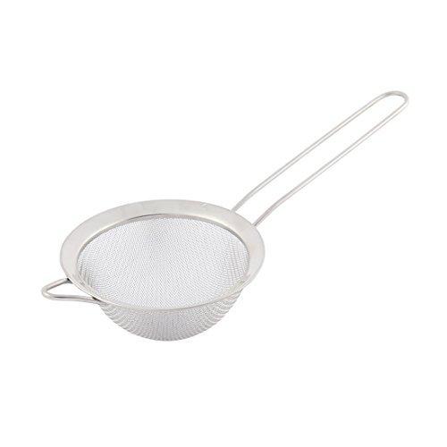 DealMux Metal Housewares Round Mesh Soybean Milk Tea Strainer Silver Tone