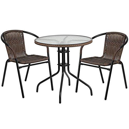 28 Round Glass Metal Indoor-Outdoor Restaurant Table Set with 2 Dark Brown Rattan Stack Chairs