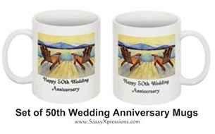 50th Wedding Anniversary Coffee Mugs -Androck Chairs - Set of 2
