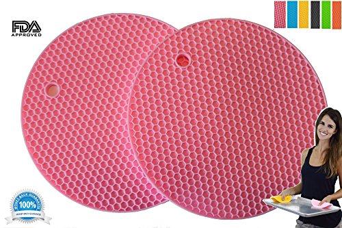 Pot Holders Set of 2 Premium Heavy Duty Multipurpose Silicone Trivets Jar Opener Large Coaster Spoon Rest Flexible Durable Heat Resistant Mat Pink