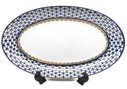 Fine Porcelain Russian Cobalt Blue Net 12 Oval Serving Fruit Plate Platter 24K Gold Accents Bone China