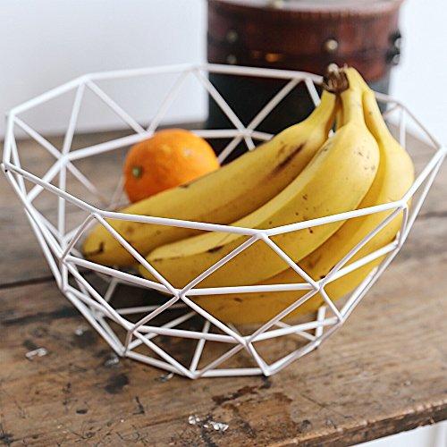 Nordic Creative Iron Collection Basket Fruit Basket Modern Fruit Plate Living Room Household Snack Storage Basket Fruit Bowls Large White
