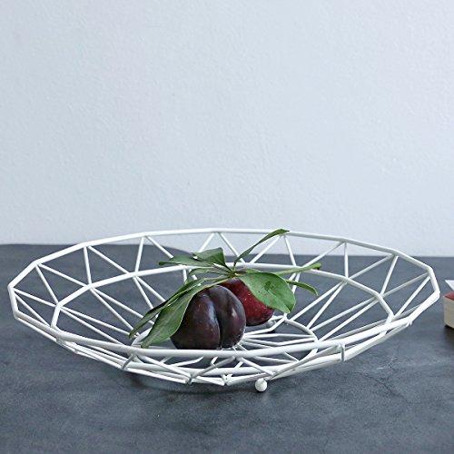 Nordic Creative Iron Collection Basket Fruit Basket Modern Fruit Plate Living Room Household Snack Storage Basket Fruit Bowls White