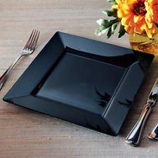 Square Plastic Dinner  Buffet Plates Black 95 Inch 120ct Elegant Wedding Plate