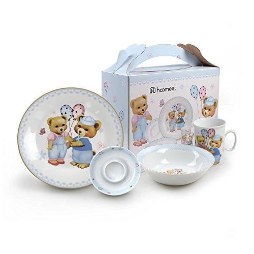 Hoomeet Porcelain Dinnerware Set 4-Piece Pretty Bear Tableware Set Ceramic