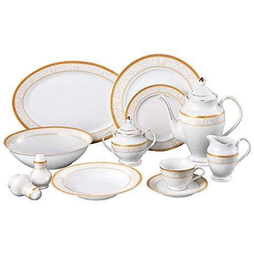 Lorren Home Trends Venice 49-Piece Porcelain Dinnerware Set Service for 8