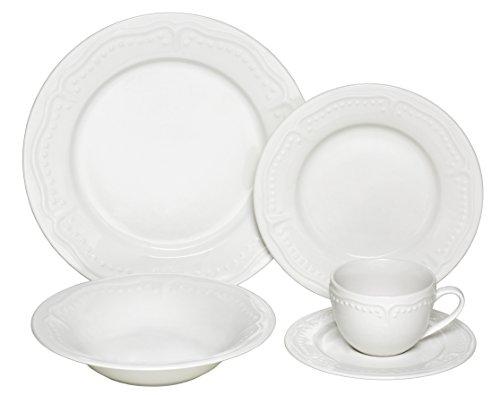 Melange  40-Piece Porcelain Dinnerware Set Tuscan Villa  Service for 8  Microwave Dishwasher Oven Safe  Dinner Plate Salad Plate Soup Bowl Cup Saucer 8 Each