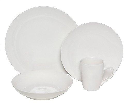 Melange Coupe 32-Piece Porcelain Dinnerware Set White  Service for 8  Microwave Dishwasher Oven Safe  Dinner Plate Salad Plate Soup Bowl Mug 8 Each