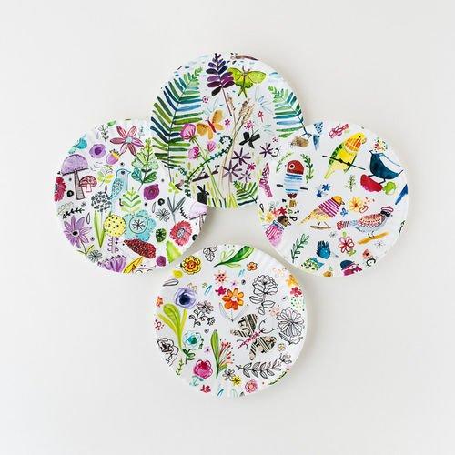 Contemporary Birds and Flowers 9 Melamine Plates - Set of Four