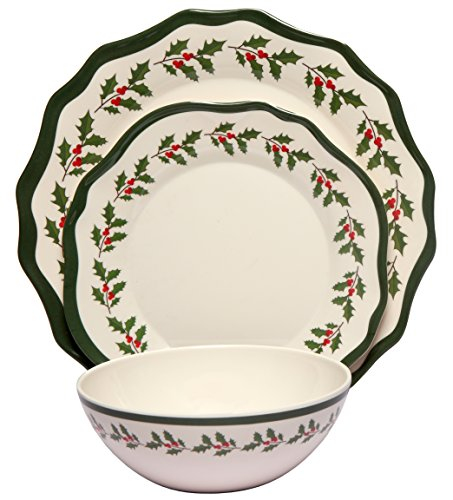 Melange 12-Piece 100 Melamine Dinnerware Set Holly Collection   Shatter-Proof and Chip-Resistant Melamine Plates and Bowls  Dinner Plate Salad Plate Soup Bowl 4 Each