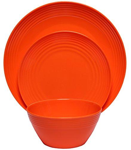 Melange 12-Piece  Melamine Dinnerware Set Solids Collection   Shatter-Proof and Chip-Resistant Melamine Plates and Bowls  Color Orange  Dinner Plate Salad Plate Soup Bowl 4 Each