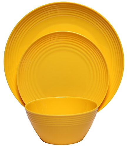 Melange 36-Piece  Melamine Dinnerware Set Solids Collection   Shatter-Proof and Chip-Resistant Melamine Plates and Bowls  Color Yellow  Dinner Plate Salad Plate Soup Bowl 12 Each