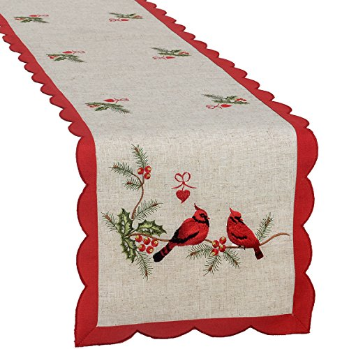 GRELUCGO Embroidered Christmas Holiday Decorative Cardinal Table Runner Rectangular 15 x 106 Inch