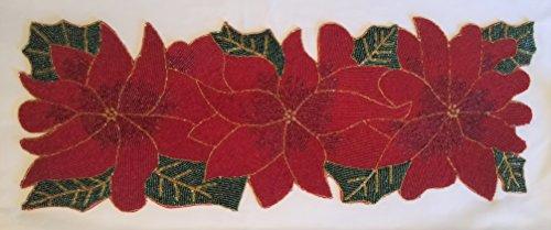 Holiday Christmas Table Runner Beaded Poinsettia Flower Leaves