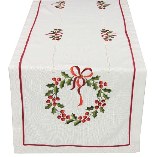 Xia Home Fashions Country Wreath Embroidered Hemstitch Christmas Table Runner 16-Inch by 36-Inch