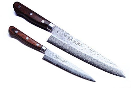 Yoshihiro 16 Layers Hammered Damascus Gyuto 95 Inch and Petty 53inch 2pc Set Japanese Chefs Knife