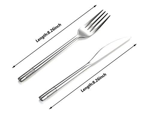 Steak Knife and Fork Cutlery Set 1810 Stainless Steel Silverware Steak Knives and Forks 8-Piece ZHENFAN