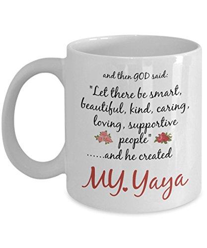 Yaya Mug - Yaya Gift - God Created My Worlds Best Funny Novelty Coffee Cup For Family Members