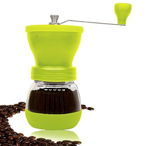 PuTwo B0140MRZCO Coffee Grinder Burr Coffee Grinder Stainless Steel with Ceramic Hand Crank Green