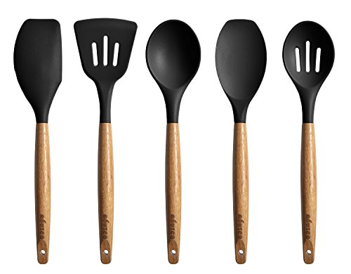 Miusco Kitchen Utensils Set Silicone Cooking Utensils with Natural Acacia Hard Wood Handle Black