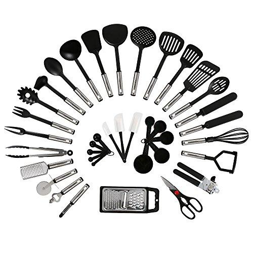 NEXGADGET 38-Piece Premium Cooking Utensils Stainless Steel and Nylon Kitchen Utensils Set