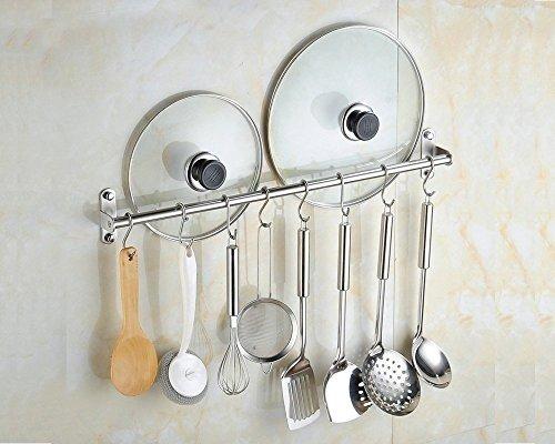Wall Mounted Pan Pot Rack Kitchen Utensils Hanger Organizer Lid Holder 39 Stainless Steel 15 Hooks Multipurpose