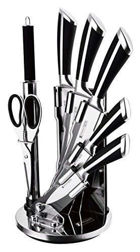 Imperial Collection Premium Stainless Steel Kitchen Knife Set With with Rotating Block Stand Black - 8 Piece set