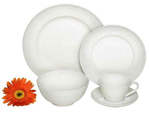 Melange  40-Piece Porcelain Dinnerware Set Classic Swirl  Service for 8  Microwave Dishwasher Oven Safe  Dinner Plate Salad Plate Soup Bowl Cup Saucer 8 Each