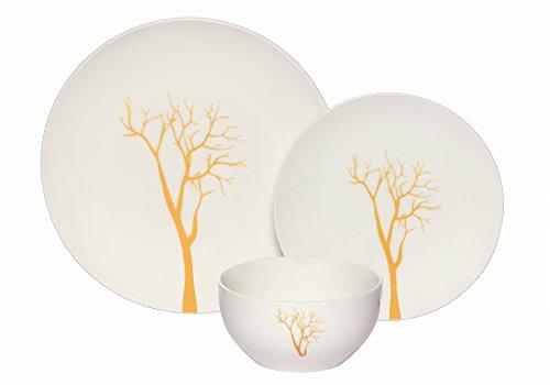 Melange Coupe 18-Piece Porcelain Dinnerware Set Gold Tree  Service for 6  Microwave Dishwasher Oven Safe  Dinner Plate Salad Plate Soup Bowl 6 Each