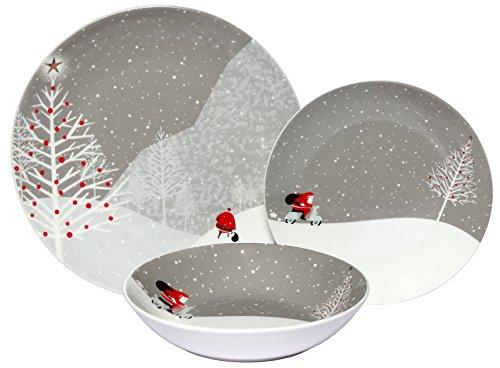 Melange Coupe 18-Piece Porcelain Dinnerware Set Santa Comes Home  Service for 6  Microwave Dishwasher Oven Safe  Dinner Plate Salad Plate Soup Bowl 6 Each