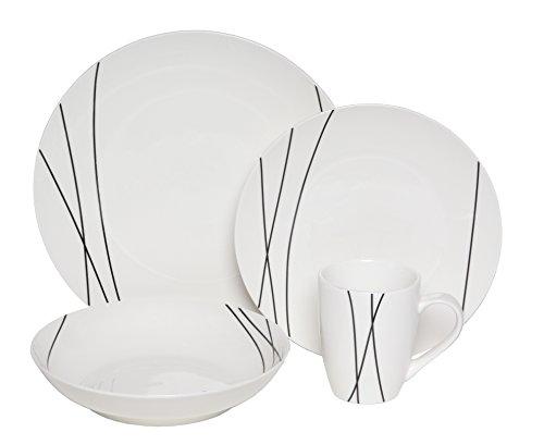 Melange Coupe 32-Piece Porcelain Dinnerware Set Lines  Service for 8  Microwave Dishwasher Oven Safe  Dinner Plate Salad Plate Soup Bowl Mug 8 Each