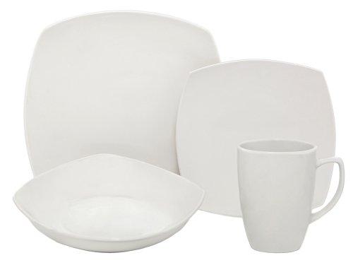 Melange Square 16-Piece Porcelain Dinnerware Set White  Service for 4  Microwave Dishwasher Oven Safe  Dinner Plate Salad Plate Soup Bowl Mug 4 Each