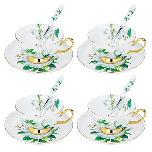 ARTVIGOR Camellia Printed Coffee Tea Set New Bone China Espresso Cup Saucer Sets with Spoons Service for 4