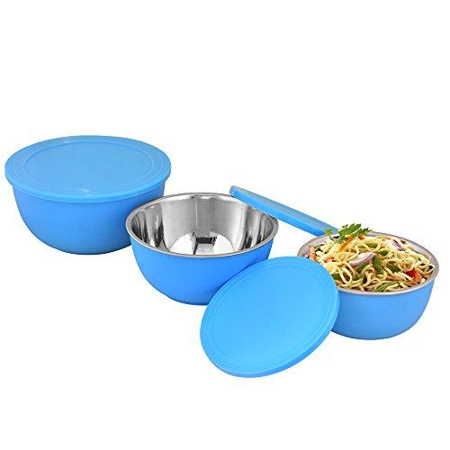 Kosma 3Pc Stainless Steel Microwave Safe Serving Bowl  Storage Bowl with Airtight Flexible Lids 15cm 18cm 21cm  Blue