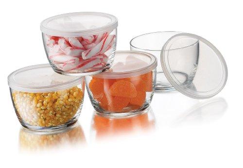 Libbey Glass Storage Bowls with Plastic Lids 16-Ounce Clear 4 Bowls  4 Lids