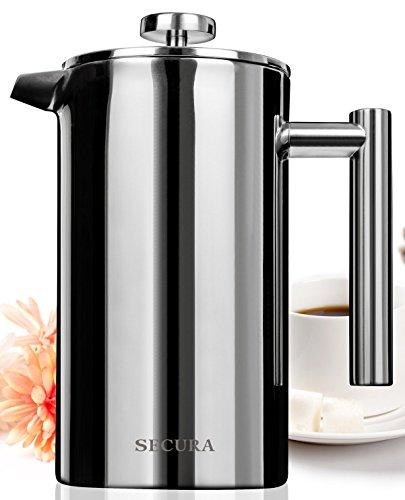Secura Stainless Steel French Press Coffee Maker 1810 Bonus Stainless Steel Screen 1000ML