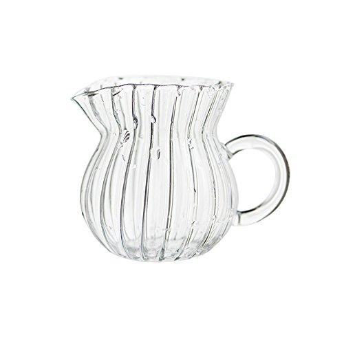 CHOOLD Creative Embossed Stripe Clear Crystal Glass Creamer PitcherServing PitcherSauce PitcherMilk Coffee Creamer Jug for Kitchen455912oz