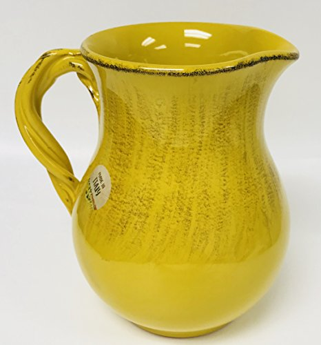 Made In Italy  Brightly Colored Mustard Yellow With Brown Distressed Design Serving Pitcher  Holds A Generous 5 Cups  7 inches x 7 inches With Handle