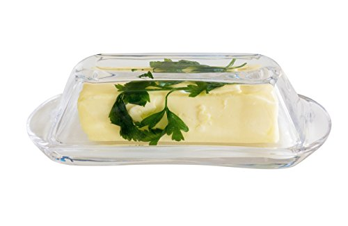 Burro Glass Butter Cheese Dish Set with Heavy Duty Glass Dish Comes with Lid as Server Tray - A Premium Product by Burro