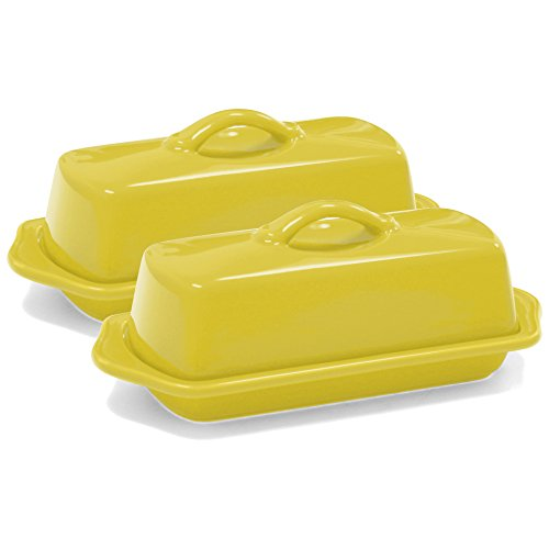 Chantal Canary Yellow Ceramic 85 Inch Full Size Butter Dish Set of 2