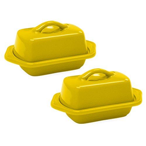 Chantal Canary Yellow Stoneware Mini 5 Inch Butter Dish Set of 2