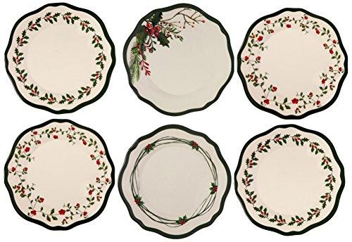 Melange 6-Piece 100 Melamine Dinner Plate Set Winterberry Collection   Shatter-Proof and Chip-Resistant Melamine Dinner Plates