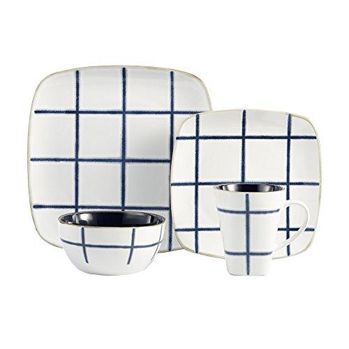 American Atelier Squares 16 Piece Dinnerware Set Blue