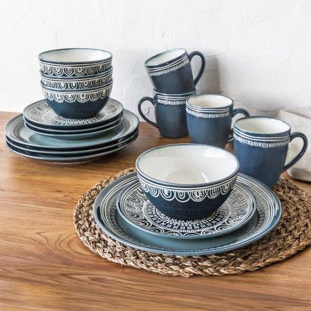 Better Homes and Gardens Teal Medallion 16 Piece Dinnerware Set