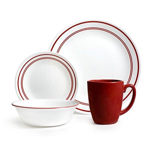 Corelle Livingware 16-Piece Dinnerware Set Service for 4 Classic Cafe Red