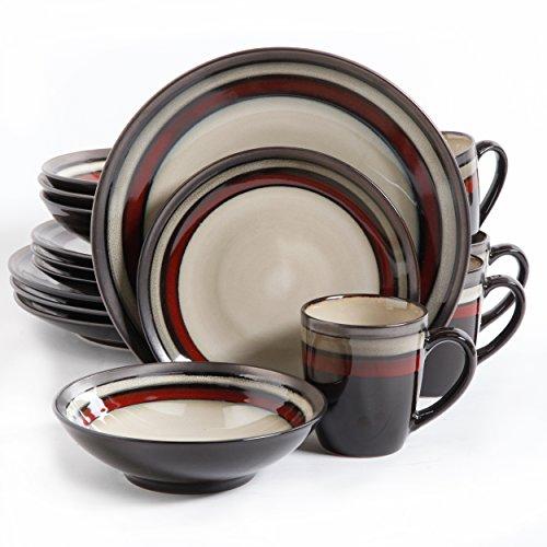 Gibson Lewisville 16 Piece Dinnerware Cream with Red Reactive Metallic Rim CreamRed