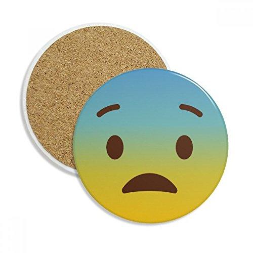 Awkward Yellow Cute Online Emoji Stone Drink Ceramics Coasters for Mug Cup Gift 2pcs
