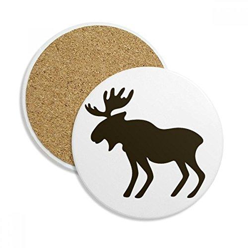 Black Elk Cute Animal Portrayal Ceramic Coaster Cup Mug Holder Absorbent Stone for Drinks 2pcs Gift